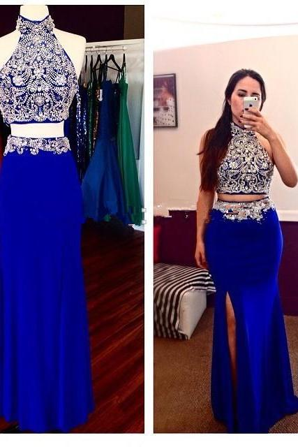 Halter Royal Blue Handmade Beading Prom Dresses,2016 Modest Prom Gowns For Teens,2 pieces Evening Gowns