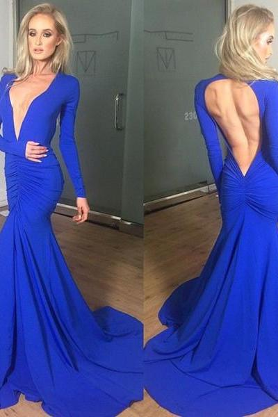 Sexy Deep V-neck Log Prom Dresses,Long Sleeves Prom Gowns.Mermaid Evening Dresses,Backless Party Gowns