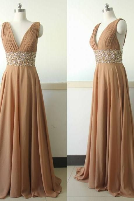 V-neck Handmade Long Chiffon Prom Dresses,Pretty Dress,Cheap Dresses,High Quality Dresses