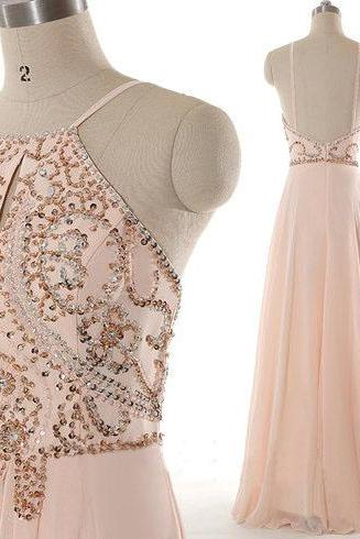 Charming Blush Pink Ling Chiffon Beaded Prom Dresses White Straps,Beautiful Handmade Backless A-line Prom Gowns