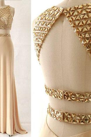 Two Pieces Beading Champage Long Chiffon Prom Dresses,Elegant Real Made Prom Gowns,Pretty Backless Evening Gowns