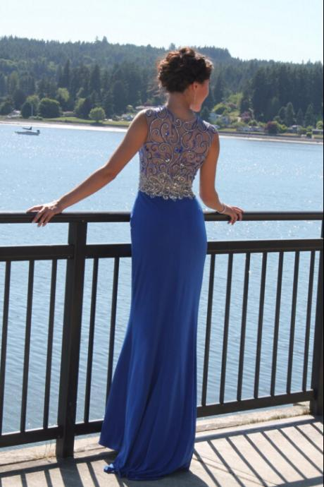 Front Split Long Royal Blue Prom Dresses,Beautiful Handmade Prom Gowns,Evening Gowns,Sparkly Evening Gowns