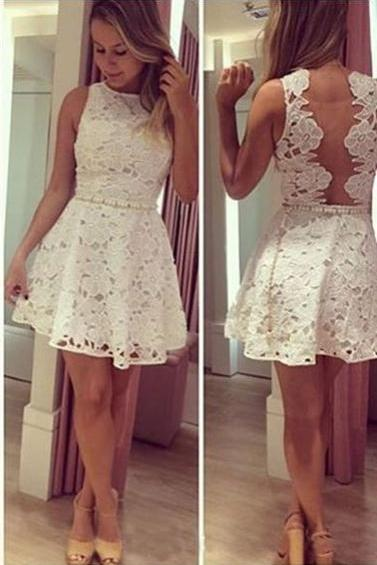 Ivory Lace Short Cocktail Dresses,Pretty Homecoming Dresses,Classy Graduation Dresses DR0506