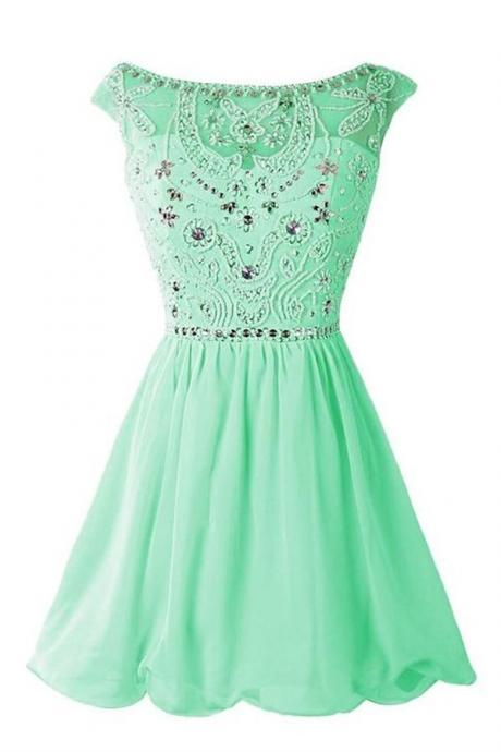 Green Chiffon Homecoming Dresses,Handmade Girly Homecoming Dresses For Teens