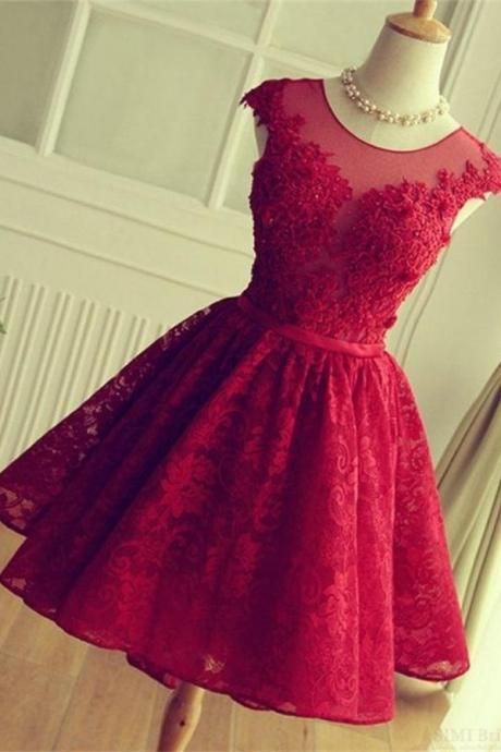 Formal Short Homecoming Dresses,Beautiful Red Cocktail Dresses,Charming Graduation Dresses