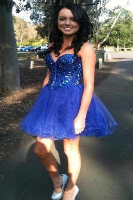 Royal Blue Beading Homecoming Dresses,Sweetheart Lace Up Short Prom Dresses,Pretty Graduation Dresses