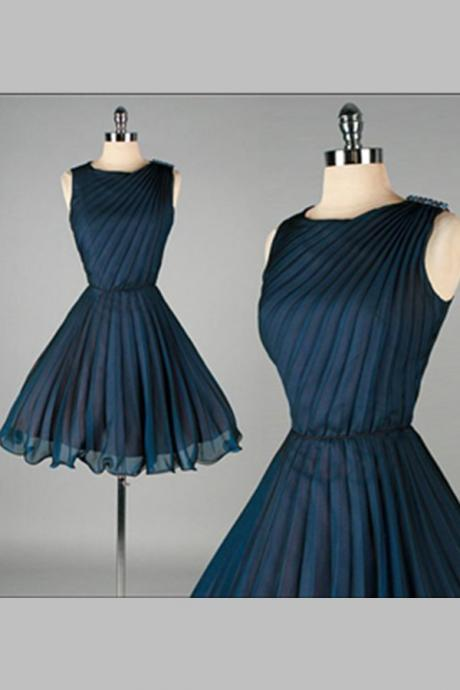 Navy Blue Short Chiffon Homecoming Dresses,Classy Homecoming Dress,Simple Cheap Homecoming Dress For Teens