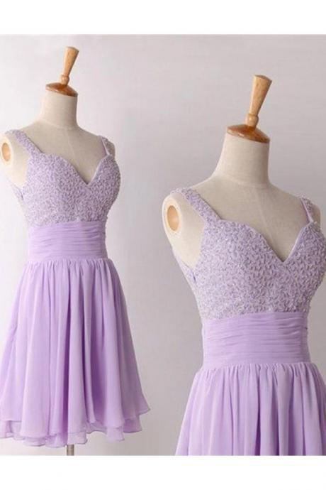Violet Chiffon Homecoming Dresses,Lovely Graduation Dresses,Short Prom Dresses