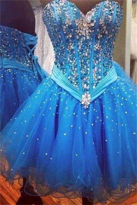 Blue Strapless Beaded Homecoming Dresses,Homecoming Dress,Cocktail Dresses