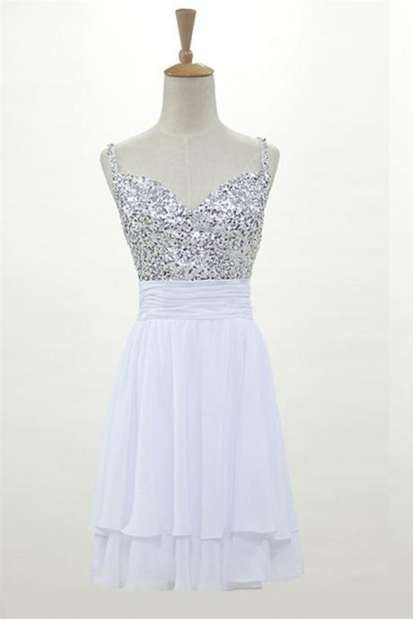 White Chiffon Short Homecoming Dresses With Straps
