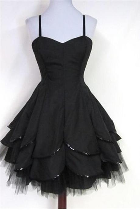 Charming Black Short Tulle Homecoming Dresses,Handmade Homecoming Dress