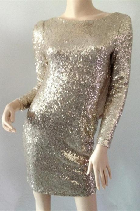 Sequin Shiny Long Sleeves Short Homecoming Dresses,Sparkly Pretty Homecoming Dress