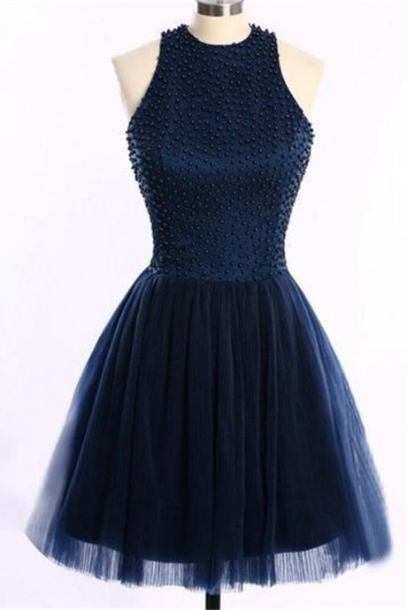 Navy Blue Short Handmade Halter Beading Homecoming Dresses,Homecoming Dress