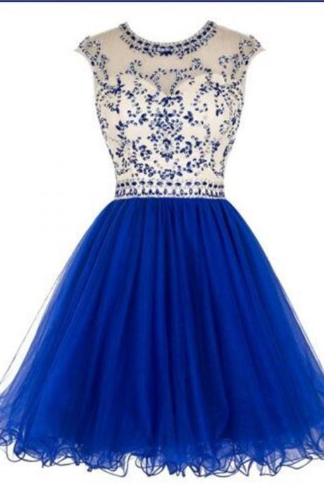 Beading Blue Short Homecoming Dresses,Cap Sleeves Homecoming Dress