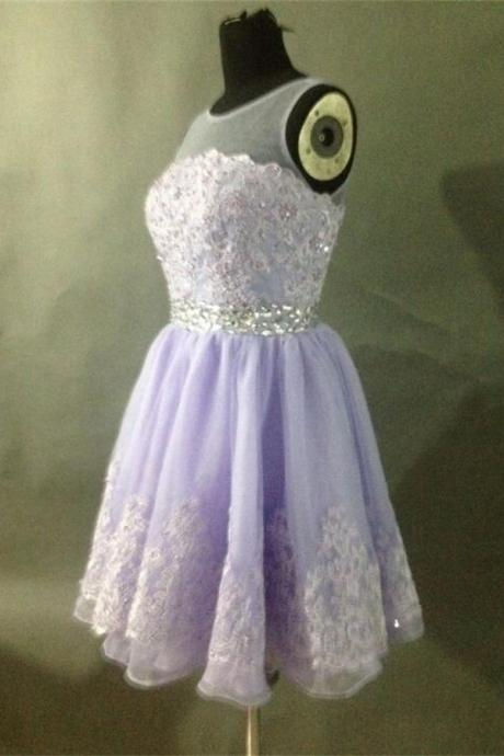 Violet Lace Homecoming Dresses,Pretty Tulle Homecoming Dresses,Zipper Back Homecoming Dress