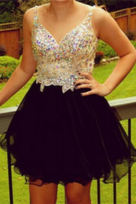 Pretty V-neck Beading Homecoming Dresses With Straps,Short Cute Homecoming Dress