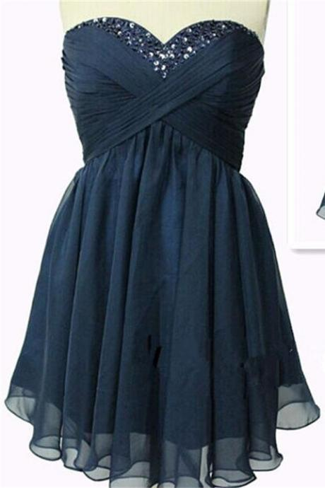 Classy Navy Blue High Low Homecoming Dresses,Chiffon Homecoming Dresses,Handmade Graduation Dresses