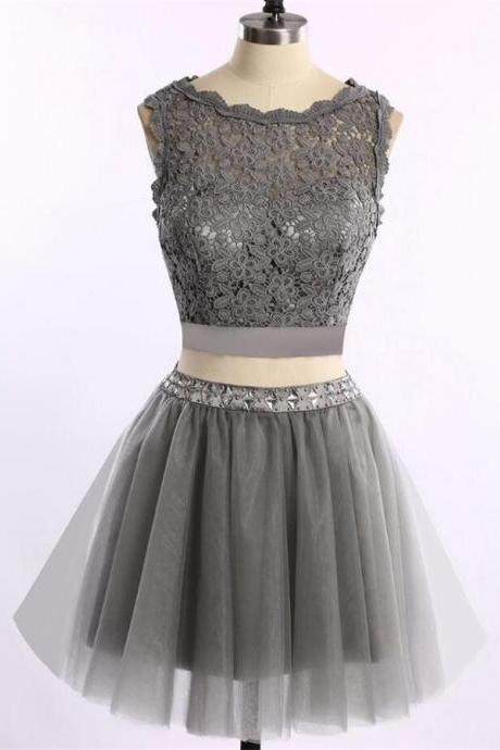 Pretty 2 pieces Short Handmade Pretty Grey Homecoming Dresses,Homecoming Dress