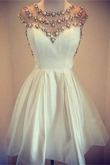 Ivory Beading Handmade Satin Homecoming Dresses,Elegant Dresses,Pretty Short Prom Dresses