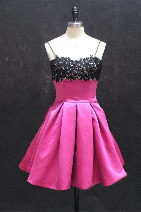 Hot Pink Homecoming Dresses,Cute Homecoming Dress,Girly Short Prom Dresses,Formal Cocktail Dresses