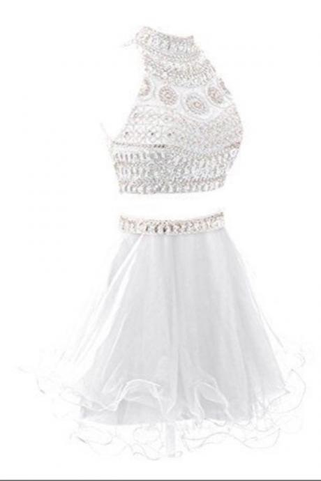 White Beading Pretty Sparkly Homecoming Dresses,CHamring Homecoming Dress,2 Pieces Short Prom Dresses