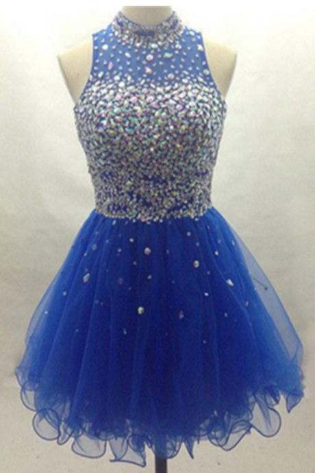 Blue Tulle Colorful Beads Homecoming Dresses,Pretty Elegant Homecoming Dress,Short Prom Dresses, Cute Graduation Dresses