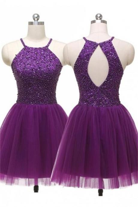 Dark Plum Short Tulle Homecoming Dresses,Sleeveless Cute Homecoming Dress,For Teens