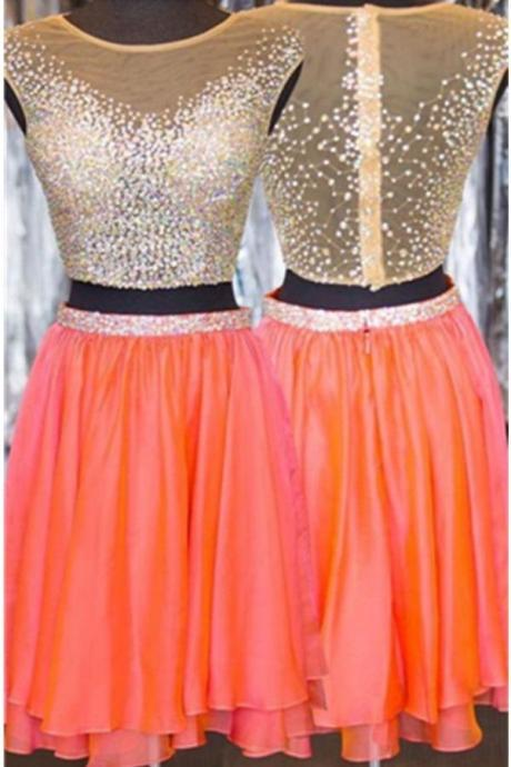 Sparkly Coral Chiffon Homecoming Dresses,Cocktail Dresses,Pretty Graduation Dresses,2 Pieces Short Prom Dresses