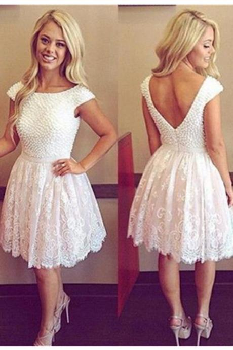 Lace Beading Open Back Homecoming Dresses,Formal Homecoming Dress,Short Prom Dresses,Cocktail Dresses,Graduation Dresses