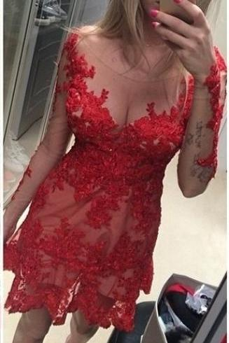 Sexy Red Lace Homecoming Dresses,Pretty Mermaid Homecoming Dresses,Long Sleeves Short Prom Dresses,Formal Cocktail Dresses