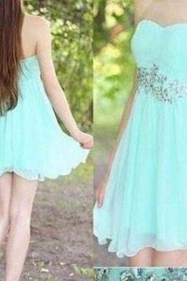 Simple Mint Chiffon Homecoming Dresses,Pretty Handmade Strapless Short Prom Dresses,Party Dresses,Homecoming Dresses For Teens