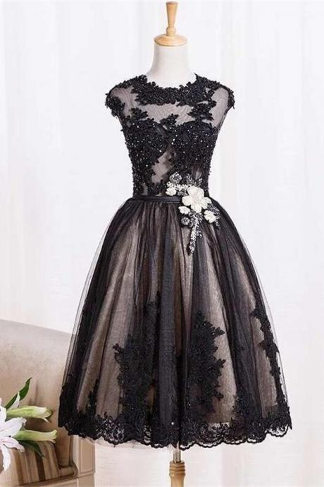 Black Vintage Dresses,Homecoming Dresses,Lace Homecoming Dress,Beaded Short Prom Dresses