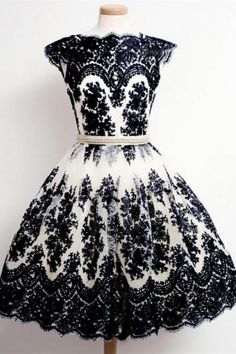 Black Lace Homecoming Dresses,Vintage Dresses,Pretty Dresses,Handmade Hmecoming Dress,Short Prom Dress,Party Dresses