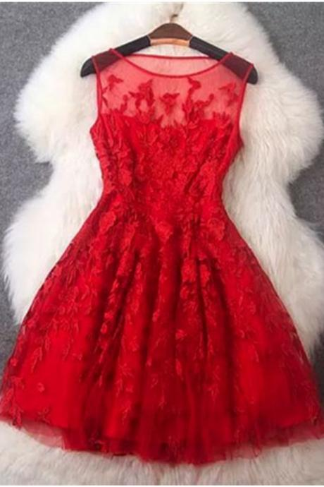 Charming Red Lace Short Homecoming Dresses,Sparkly Cocktail Dresses,Short Prom Dresses DR0446