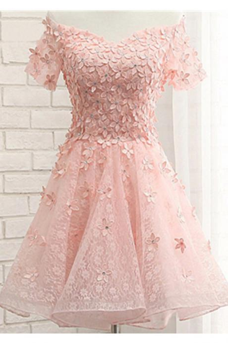Applique Pink Off Shoulder Short Sleeves Lace Up Homecoming Dresses,Cute Girly Short Prom Dresses,Graduation Dresses
