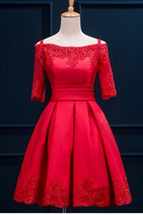 Half Sleeves Lace Light Red Satin Lace Up Cocktail Dresses,Modest Homecoming Dresses,Short Prom Dresses,Party Dresses