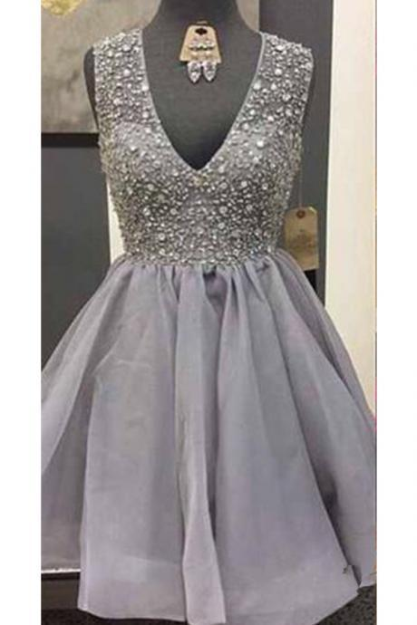 Grey V-neck Close Back Beading Homecoming Dresses,Modest Sparkly Homecoming Dress,Short Prom Dresses,Party Dresses
