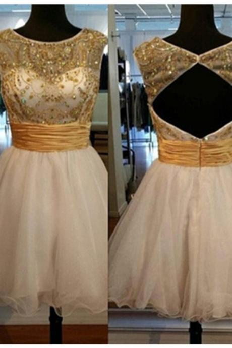 Gold Cap Sleeves Homecoming Dresses,A-line Open Back Homecoming Dress,[arty Dresses,Cute Dresses