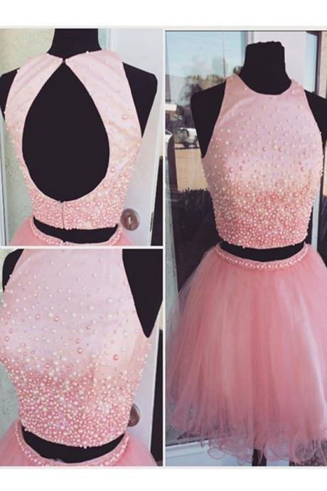 Pink Beading Tulle Short Prom Dresses,Homecoming Dresses,Open Back Two Pieces Homecming Dress,Cocktail Dresses