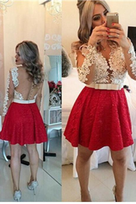 Red Lace Long Sleeves Handmade Backless V-neck Homecoming Dresses,Party Dresses,Homecoming Dress,Short Prom Dresses
