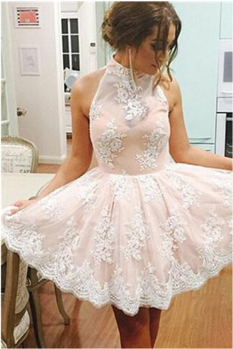 Cap Sleeves Lace Halter Homecoming Dresses,Elegant Homecoming Dress,Short Prom Dresses,Cute Dresses