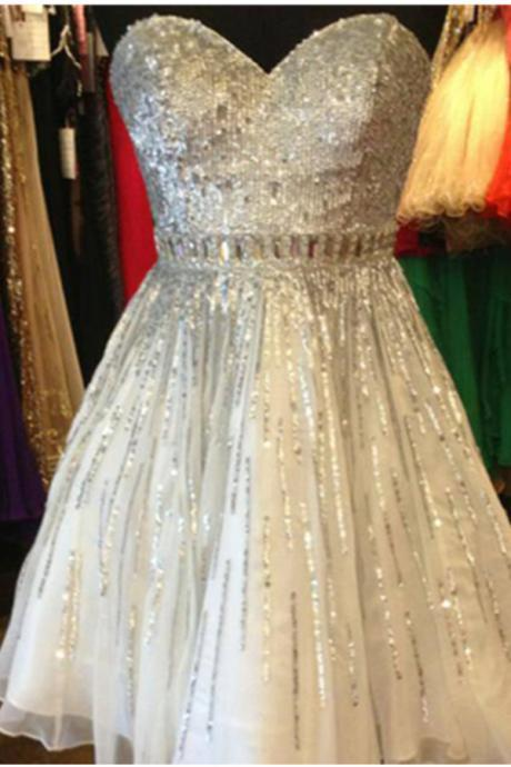 Sequin Shiny Short Beading Tulle Homecoming Dresses,Strapless Homecoming Dress,Party Dresses