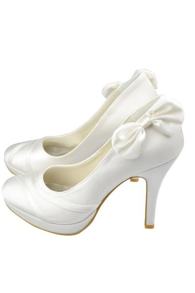 New Arrival Simple Ivory Satin Women High Heel Closed Pointed Toe Women Shoes,Prom Shoes