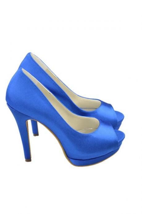 fa463ae06a7 Saprkly Royal Blue Satin Simple Handmade Elegant Cheap Prom Shoes