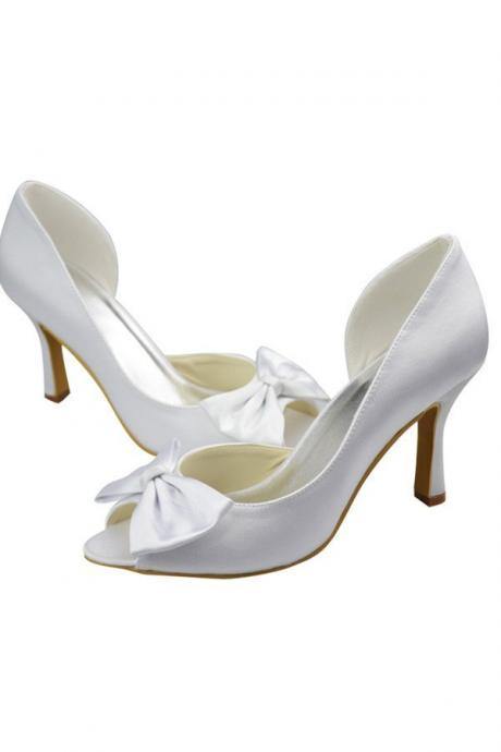Beautiful High Heel Comfy Elegant Bridesmaid Shoes,Simple Cheap Handmade Prom Shoes With Bow