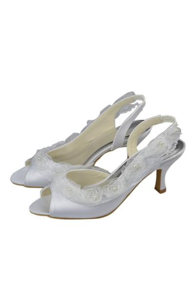 Elegant White Low Heel Lace Satin Handmade Cheap Women Shoes,Wedding Shoes,Party Shoes