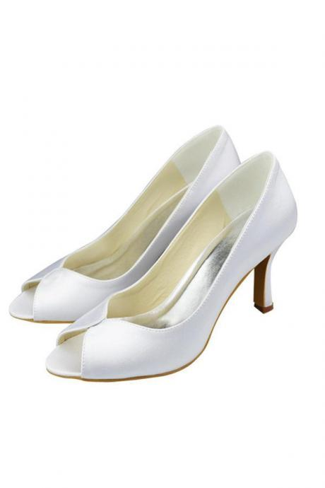Simple Comfy Peep Toe High Heel Wedding Shoes,Pretty Elegant Women Shoes