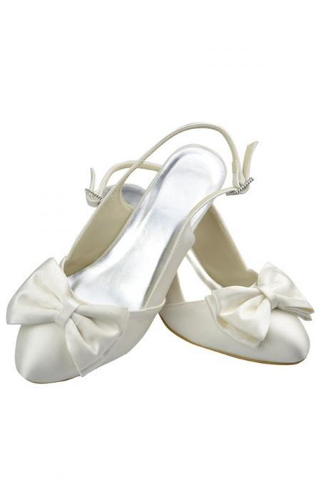 Ivory Low Heel Elegant Satin Handmade Wedding Shoes With Bow