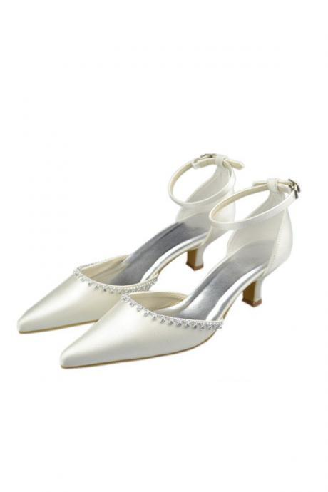 Pointed Toe Ivory Beaded Low Heel Ankle Strap Party Shoes,Elegant Wedding Prom Shoes