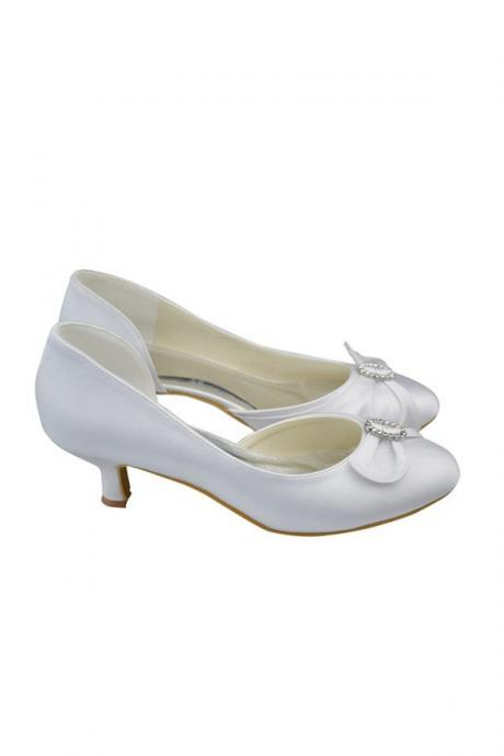 Simple White Handmade Confy Bridesmaid Shoes,Handmade Party Shoes